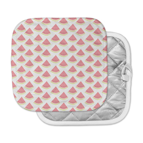 "afe images ""Watermelon Pattern 2"" Red White Illustration Pot Holder"
