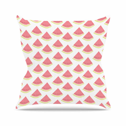 "afe images ""Watermelon Pattern 2"" Red White Illustration Outdoor Throw Pillow"