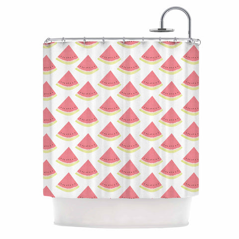 "afe images ""Watermelon Pattern 2"" Red White Illustration Shower Curtain"