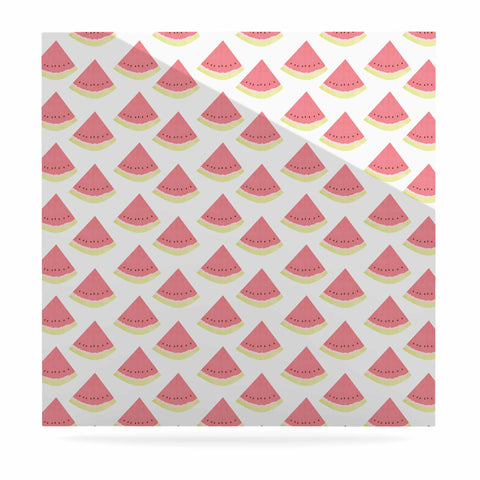 "afe images ""Watermelon Pattern 2"" Red White Illustration Luxe Square Panel"
