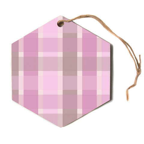 "afe images ""Pastel Plaid Pattern"" Pink Brown Pattern Stripes Illustration Digital Hexagon Holiday Ornament"