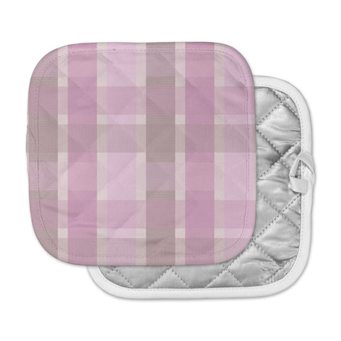 "afe images ""Pastel Plaid Pattern"" Pink Brown Illustration Pot Holder"