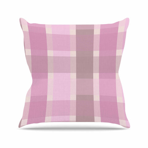 "afe images ""Pastel Plaid Pattern"" Pink Brown Illustration Outdoor Throw Pillow"