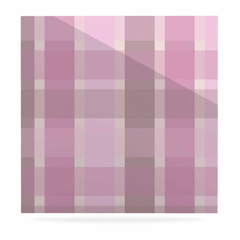 "afe images ""Pastel Plaid Pattern"" Pink Brown Illustration Luxe Square Panel"
