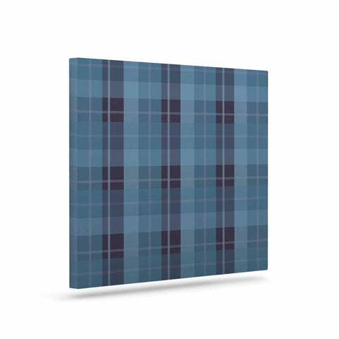 "afe images ""Blue Plaid Pattern II"" Blue Multicolor Illustration Canvas Art - KESS InHouse  - 1"