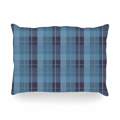 "afe images ""Blue Plaid Pattern II"" Blue Multicolor Illustration Oblong Pillow"