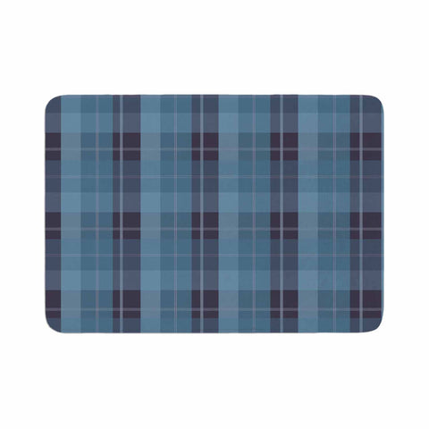 "afe images ""Blue Plaid Pattern II"" Blue Multicolor Illustration Memory Foam Bath Mat"