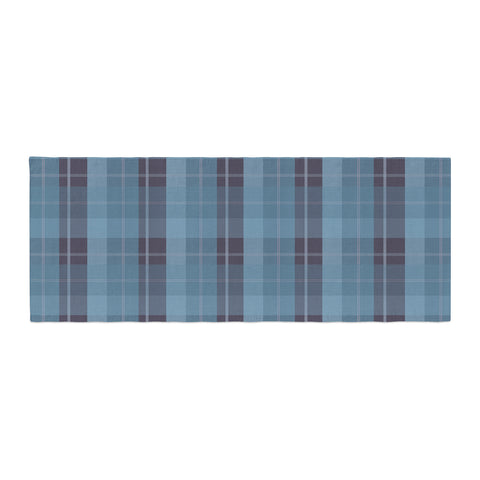 "afe images ""Blue Plaid Pattern II"" Blue Multicolor Illustration Bed Runner"