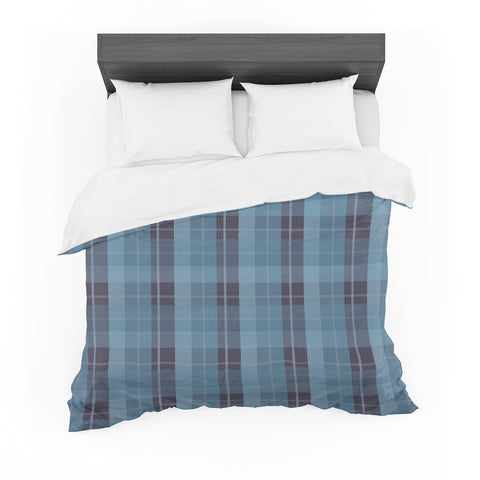 "afe images ""Blue Plaid Pattern II"" Blue Multicolor Illustration Featherweight Duvet Cover"