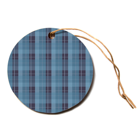 "afe images ""Blue Plaid Pattern II"" Blue Multicolor Pattern Stripes Illustration Digital Circle Holiday Ornament"