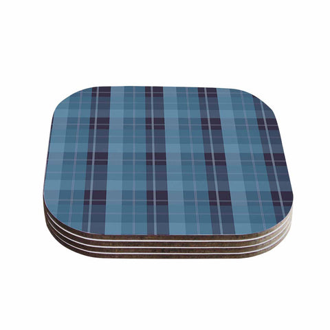 "afe images ""Blue Plaid Pattern II"" Blue Multicolor Illustration Coasters (Set of 4)"