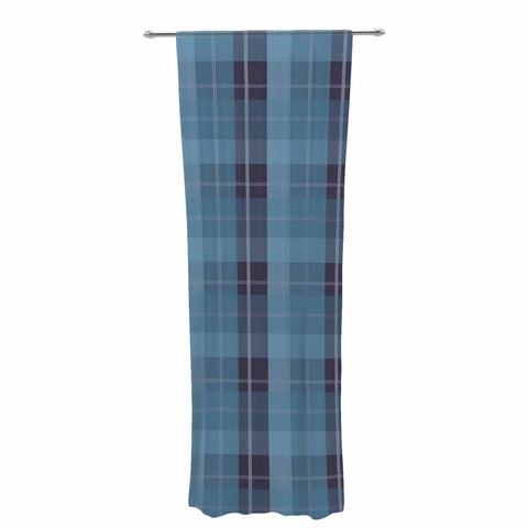 "afe images ""Blue Plaid Pattern II"" Blue Multicolor Illustration Decorative Sheer Curtain"