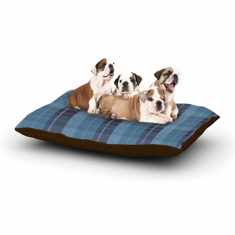 "afe images ""Blue Plaid Pattern II"" Blue Multicolor Illustration Dog Bed"