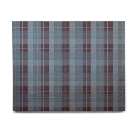 "afe images ""Blue Plaid Pattern II"" Blue Multicolor Illustration Birchwood Wall Art - KESS InHouse  - 1"