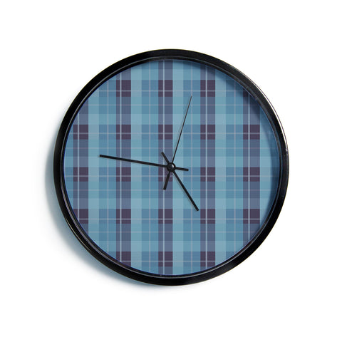 "AFE Images ""Blue Plaid Pattern II"" Blue Multicolor Pattern Stripes Illustration Digital Modern Wall Clock"