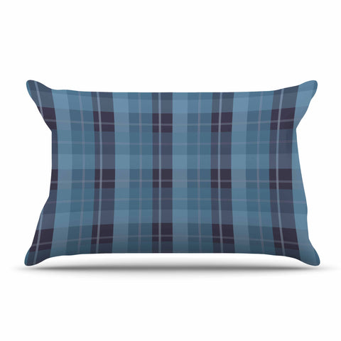 "afe images ""Blue Plaid Pattern II"" Blue Multicolor Illustration Pillow Sham"