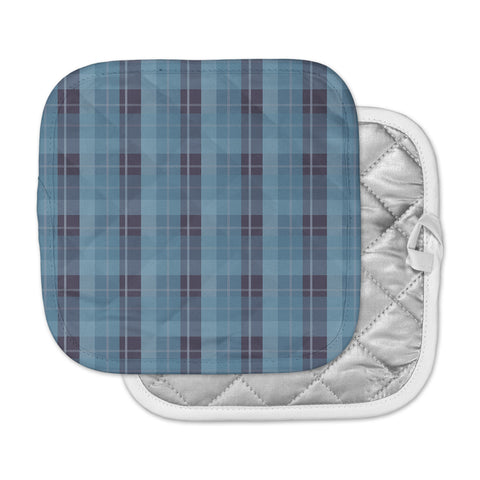 "afe images ""Blue Plaid Pattern II"" Blue Multicolor Illustration Pot Holder"