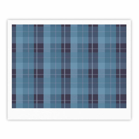 "afe images ""Blue Plaid Pattern II"" Blue Multicolor Illustration Fine Art Gallery Print"