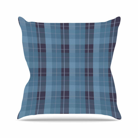 "afe images ""Blue Plaid Pattern II"" Blue Multicolor Illustration Outdoor Throw Pillow"