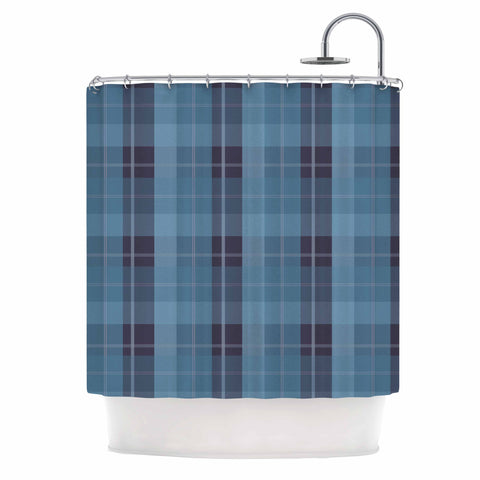"afe images ""Blue Plaid Pattern II"" Blue Multicolor Illustration Shower Curtain"