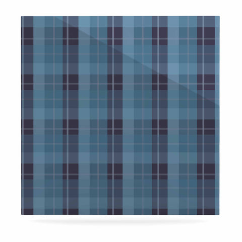 "afe images ""Blue Plaid Pattern II"" Blue Multicolor Illustration Luxe Square Panel"