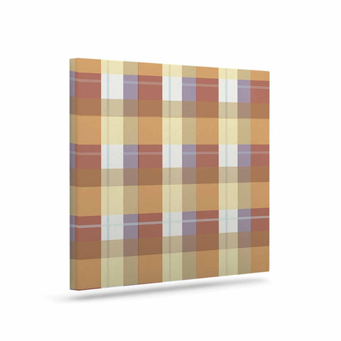"afe images ""Brown Plaid Pattern"" Brown Tan Illustration Canvas Art - KESS InHouse  - 1"