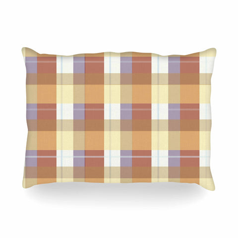 "afe images ""Brown Plaid Pattern"" Brown Tan Illustration Oblong Pillow"