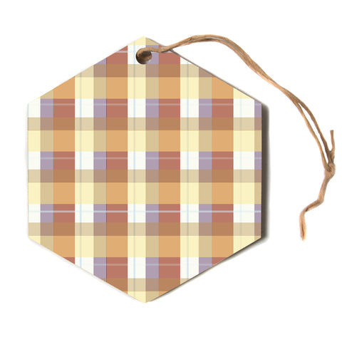"afe images ""Brown Plaid Pattern"" Brown Tan Stripes Pattern Illustration Digital Hexagon Holiday Ornament"