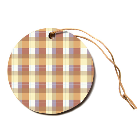 "afe images ""Brown Plaid Pattern"" Brown Tan Stripes Pattern Illustration Digital Circle Holiday Ornament"