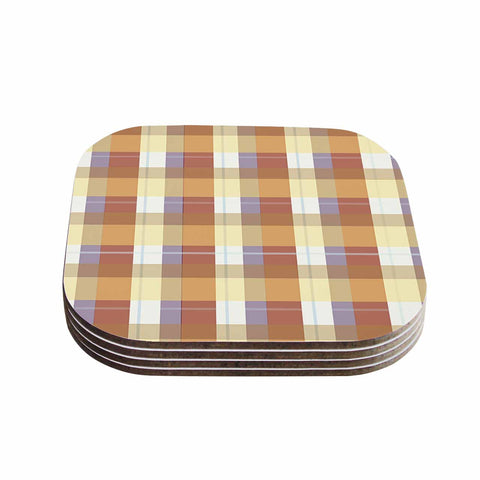 "afe images ""Brown Plaid Pattern"" Brown Tan Illustration Coasters (Set of 4)"