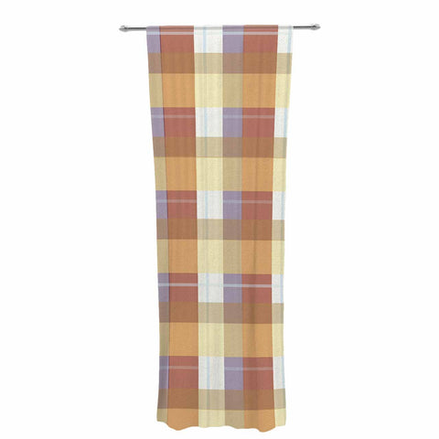 "afe images ""Brown Plaid Pattern"" Brown Tan Illustration Decorative Sheer Curtain"