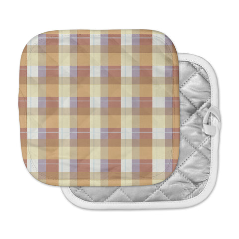 "afe images ""Brown Plaid Pattern"" Brown Tan Illustration Pot Holder"