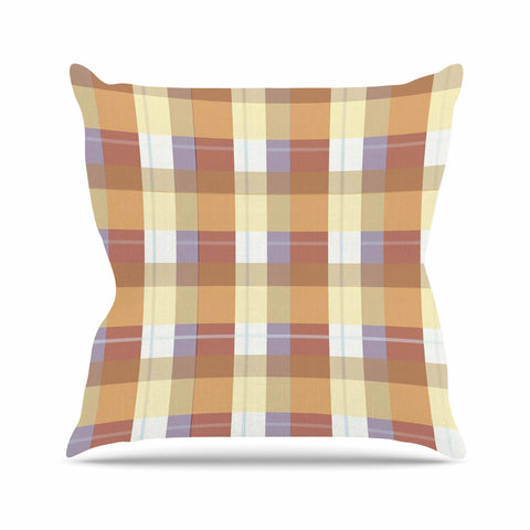 "afe images ""Brown Plaid Pattern"" Brown Tan Illustration Outdoor Throw Pillow"