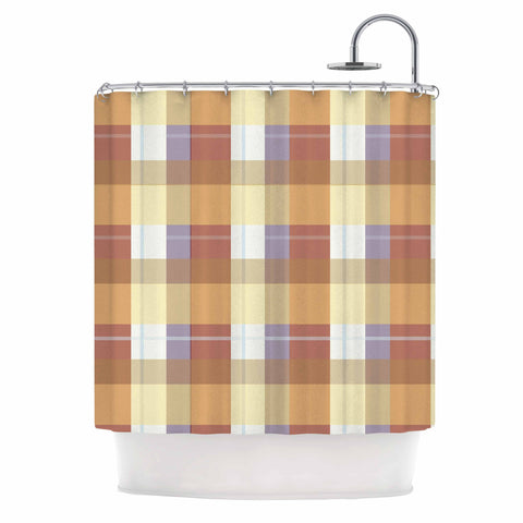 "afe images ""Brown Plaid Pattern"" Brown Tan Illustration Shower Curtain"