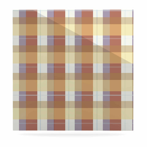 "afe images ""Brown Plaid Pattern"" Brown Tan Illustration Luxe Square Panel"