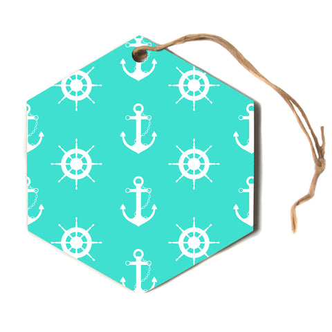 "afe images ""Anchor And Helm Wheel"" Teal White Nautical Pattern Illustration Digital Hexagon Holiday Ornament"