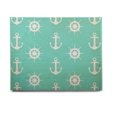 "afe images ""Anchor And Helm Wheel"" Teal White Illustration Birchwood Wall Art - KESS InHouse  - 1"