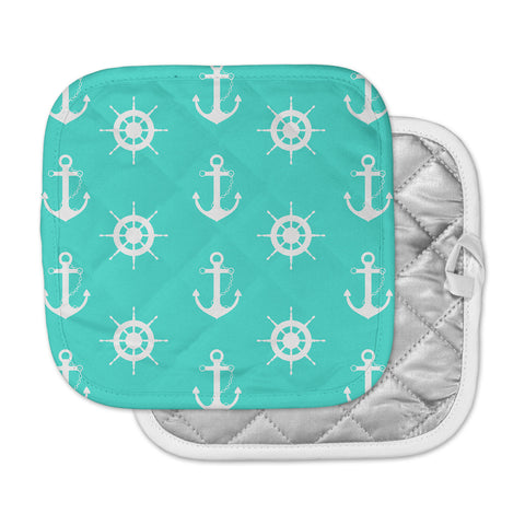 "afe images ""Anchor And Helm Wheel"" Teal White Illustration Pot Holder"