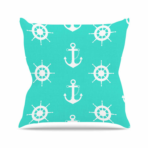 "afe images ""Anchor And Helm Wheel"" Teal White Illustration Throw Pillow"