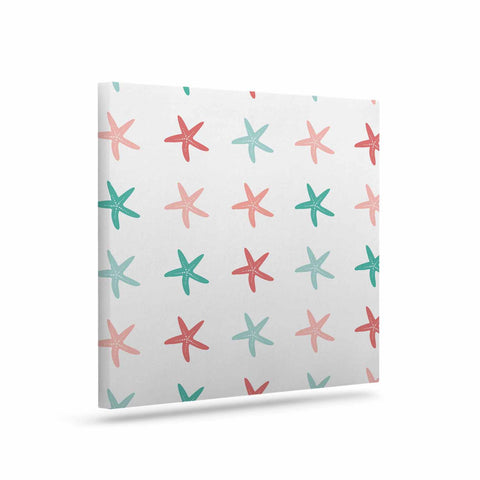 "afe images ""Starfish Pattern II"" Teal Pink Illustration Canvas Art - KESS InHouse  - 1"