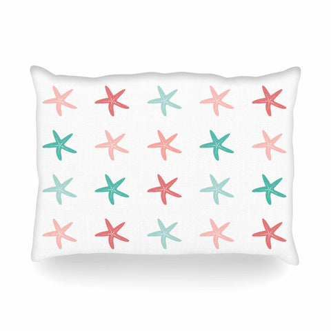 "afe images ""Starfish Pattern II"" Teal Pink Illustration Oblong Pillow"