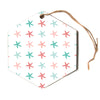 "afe images ""Starfish Pattern II"" Teal Pink Nautical Pattern Illustration Digital Hexagon Holiday Ornament"