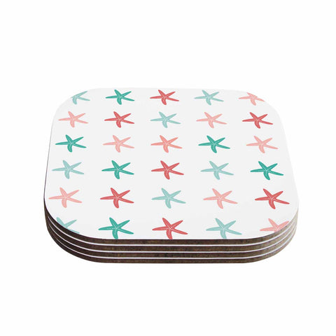 "afe images ""Starfish Pattern II"" Teal Pink Illustration Coasters (Set of 4)"