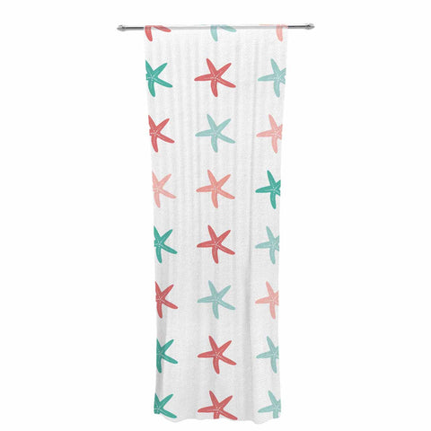 "afe images ""Starfish Pattern II"" Teal Pink Illustration Decorative Sheer Curtain"