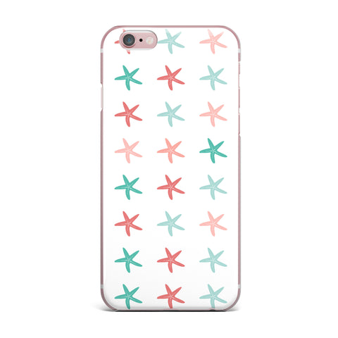 "afe images ""Starfish Pattern II"" Teal Pink Illustration iPhone Case"