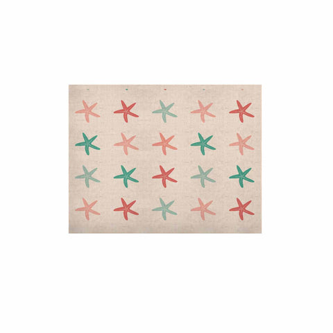 "afe images ""Starfish Pattern II"" Teal Pink Illustration KESS Naturals Canvas (Frame not Included)"