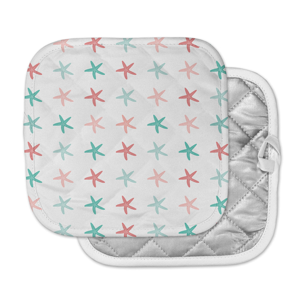 "afe images ""Starfish Pattern II"" Teal Pink Illustration Pot Holder"