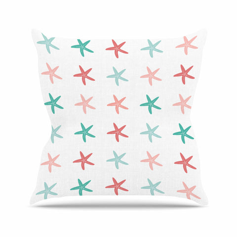 "afe images ""Starfish Pattern II"" Teal Pink Illustration Throw Pillow"