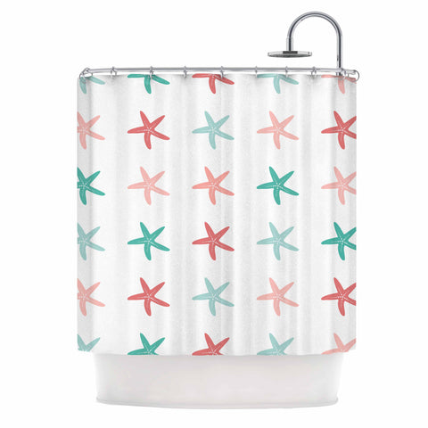 "afe images ""Starfish Pattern II"" Teal Pink Illustration Shower Curtain"