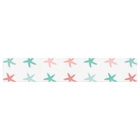 "afe images ""Starfish Pattern II"" Teal Pink Illustration Table Runner"